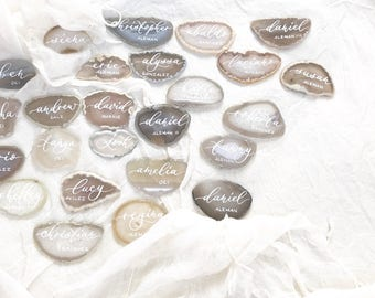 """Shade of White Light Grey Agate Slices Wedding Calligraphy Place Cards 2""""-3.5""""