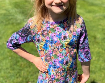 Fun summer tunic, girls clothing, custom fabric inspired by Lilo and Stitch, size 3, size 4, size 8
