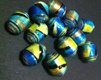 12 Paper Beads. Hand made, rolled and glazed.