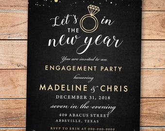 new years eve lets ring in the new year engagement couples shower invitation charcoal gray engagement party