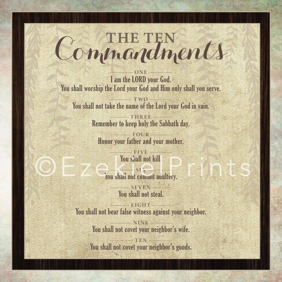 10 Commandments Wall Art Printable Religious Scripture | Etsy