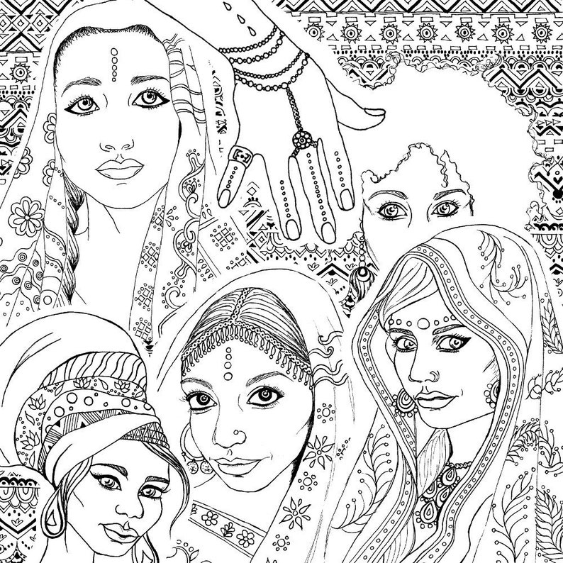 Coloring Book for Adults | Indian & African Fashion Portraits | Printable  PDF Download and Digital Stamps