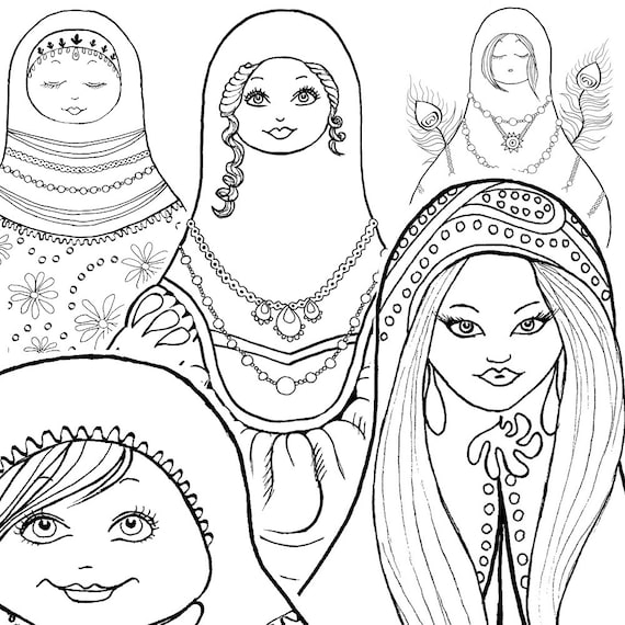 Coloring Book For Kids Nesting Doll Coloring Pages Etsy