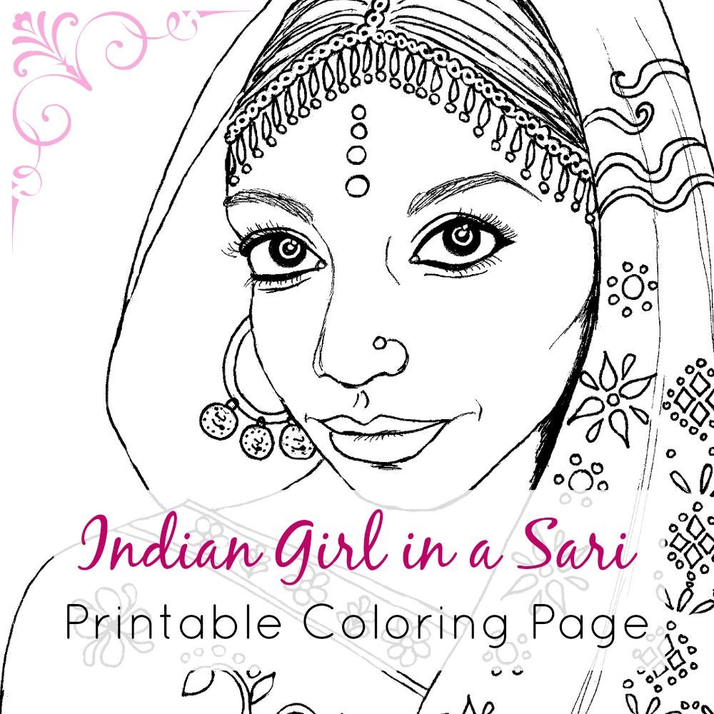 Indian Girl Adult Coloring Book Page Printable Digital | Etsy