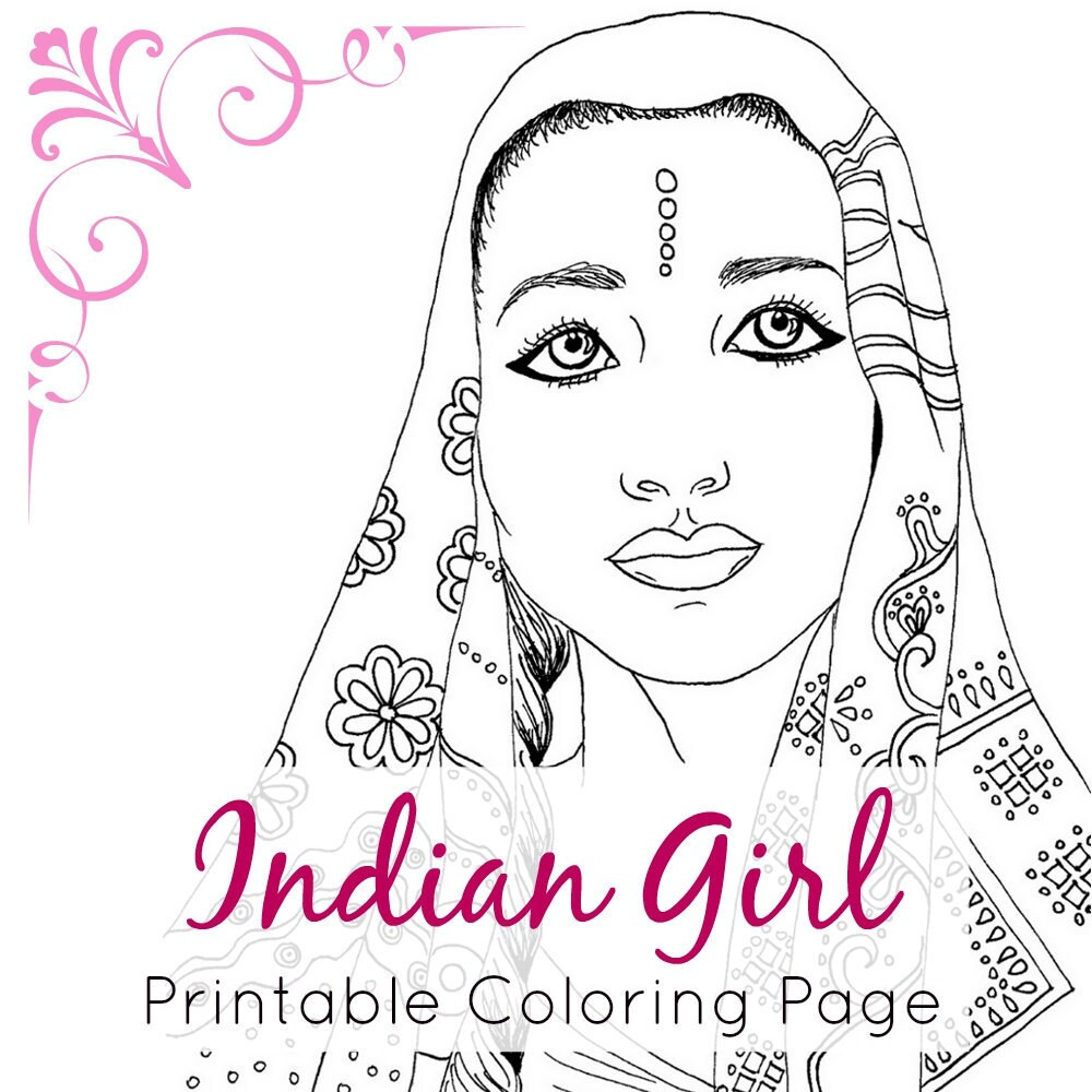 Indian Girl Adult Coloring Book Page Ethnic Art Fashion | Etsy