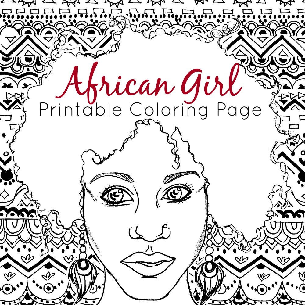 African coloring page adult coloring page african girl tribal coloring printable coloring page
