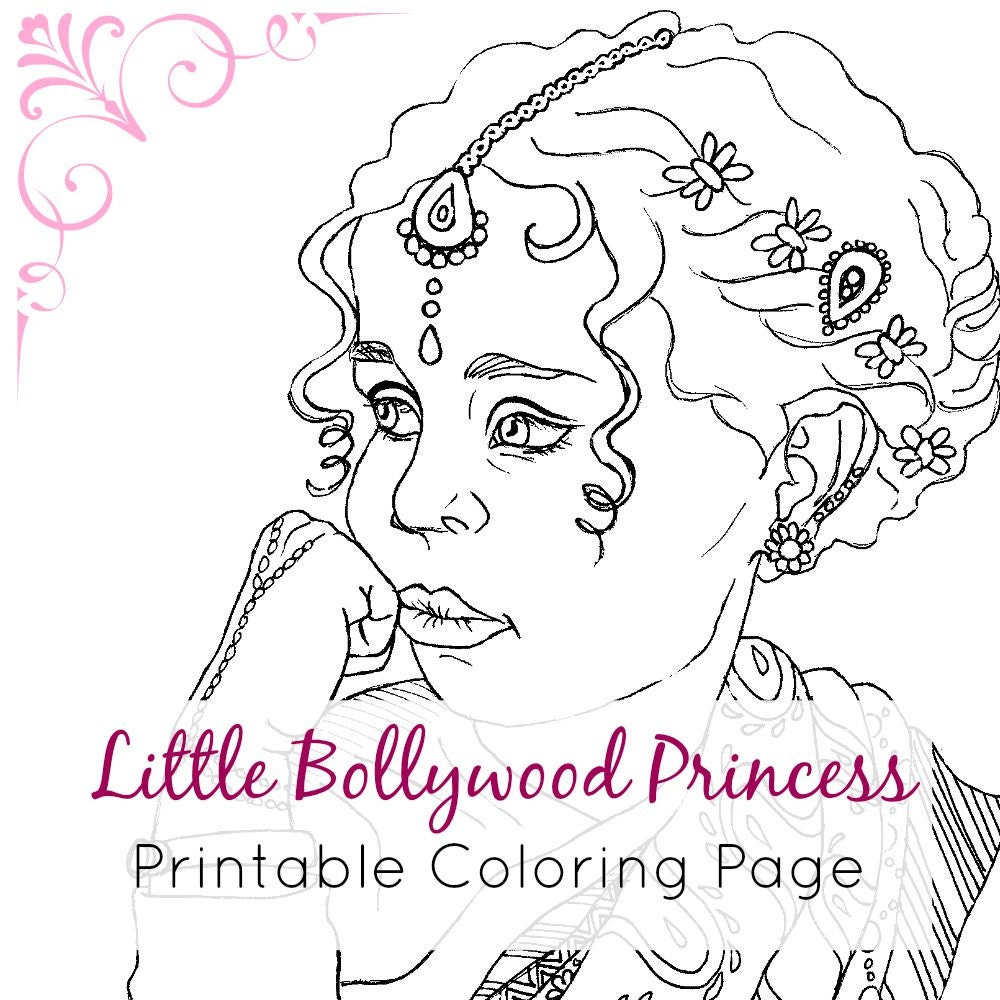 Indian Girl Coloring Page Adult Coloring Book Page Printable | Etsy