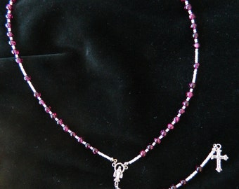 Rosary - Speckled Purple & Pink Glass Beads