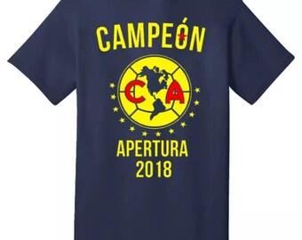 f47e2ac0e0c Club America Campeon Apertura 2018 Camisa tshirt de adulto 100% Algodon  todas las medidas