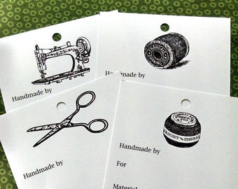 Sewing theme printable gift tags - sewing gifts - sewing machine, scissors, thread spools - packaging - crafts - handmade gifts