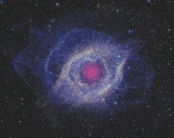 Helix nebula cross stitch pattern - Instant digital download - PDF cross stitch embroidery - NASA space telescope ultraviolet infrared