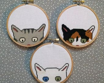 Kitty Committee - cross stitch patterns - instant digital download - 4 inch hoop - embroidery - cat kitten cute - calico tabby