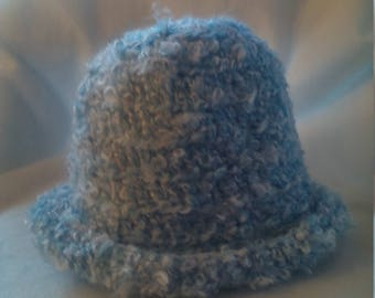 Rolled brim hat in heavenly blue