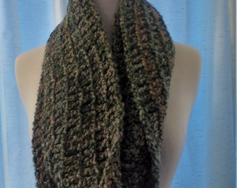 Infinity scarf in shades of green and buff