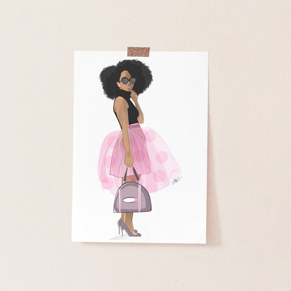 With afro girl art black Afros Turned