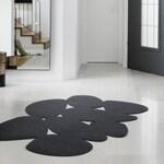 Black modern minimalist wool felt area rug, Eco friendly boho rug, Scandinavian rug, bedroom & living room rug, modern design car