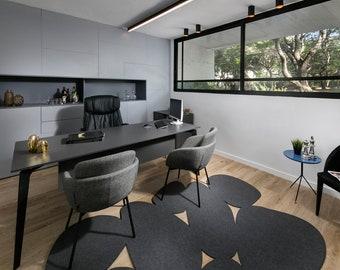 Gray Modern Minimalist Wool Felt Office Rug Eco Friendly ...
