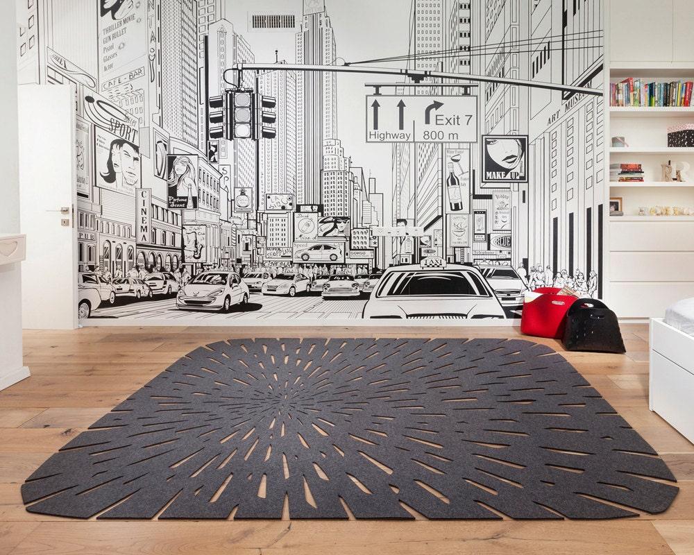 Modern Bedroom Rug: Gray Boho Rug Rectangle Rug Contemporary Rug Wool Felt