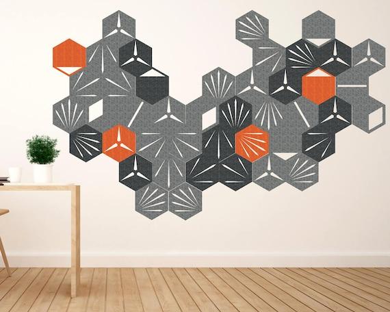 44 un kit de stickers mural moderne et urbain hexagone décor etsy