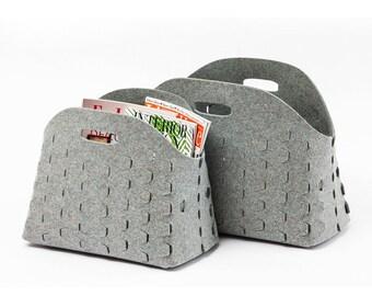 Felt storage basket, scales basket, felt bin, modern storage basket, storage bin, wool felt basket, cut out basket, felt magazine holder