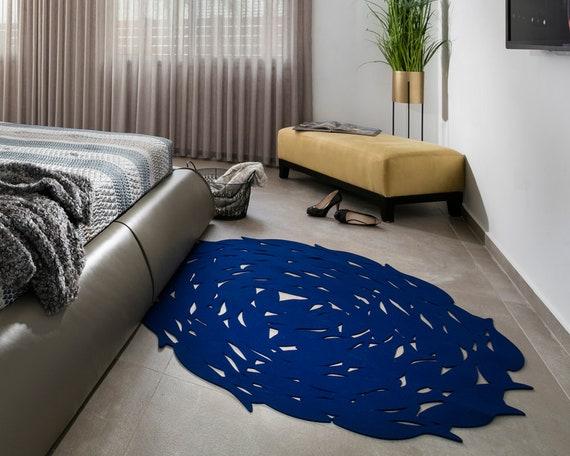 Blau Buro Teppich Runder Teppich Handgefertigten Teppich Etsy