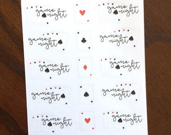 Playing Cards Game Night Stickers - Family Night Planner Stickers - Cards Stickers - Game Night Planner Stickers