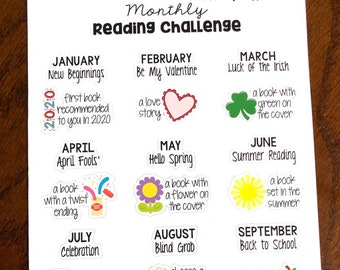 2020 Reading Challenge List.Reading Challenge Planner Stickers Reading Planner Stickers