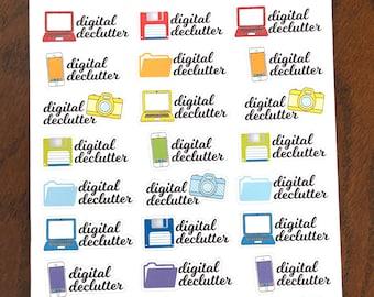 Digital Declutter Stickers - Declutter Planner Stickers - Decluttering Stickers - Cleaning Stickers - Computer Stickers - Phone Stickers