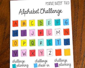 Alphabet Reading Challenge Planner Stickers - ABC Reading Planner Stickers - Reading Bucket List Planner Stickers - Bookish Stickers