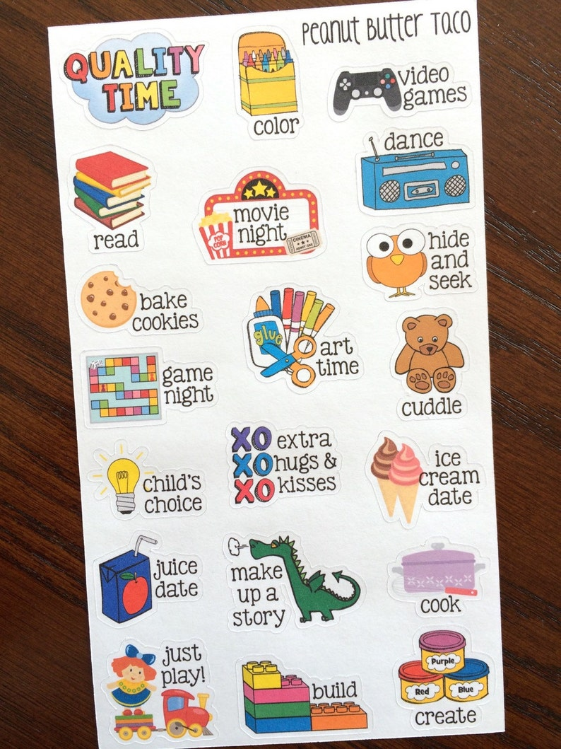 Quality Time Stickers  Family Time Planner Stickers  Kid image 0