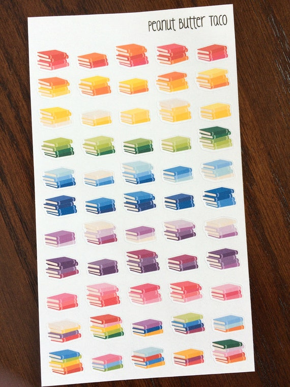 Stack of Books Removable Matte Sticker Sheets Set