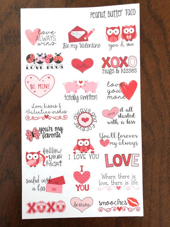 Valentine Sayings Planner Stickers Love Quote Stickers Etsy Custom Quotes Of Valentine Day
