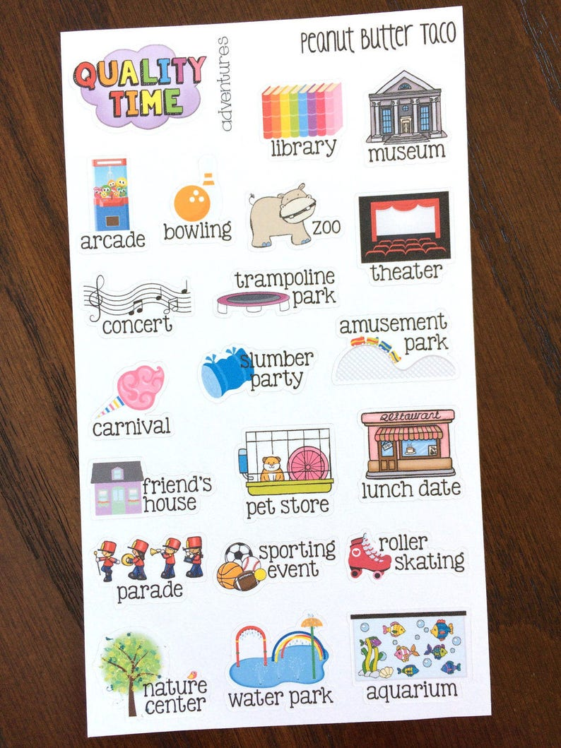 Kid Adventures Stickers  Quality Family Time Planner Stickers image 0