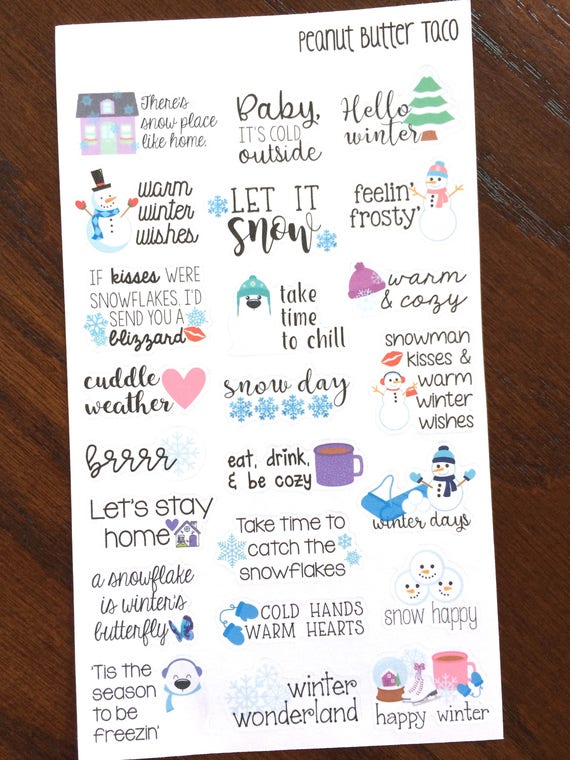 Winter Sayings Planner Stickers Winter Quote Stickers