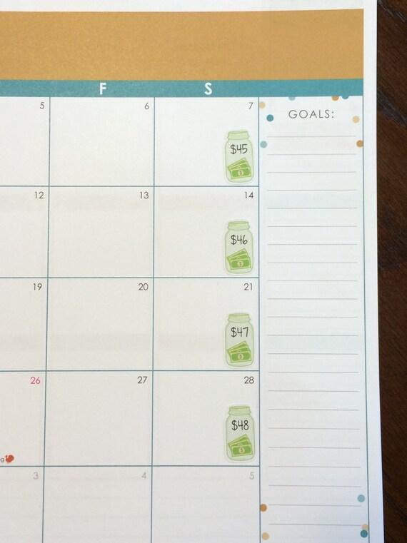 blank savings challenge planner stickers 52 week money etsy