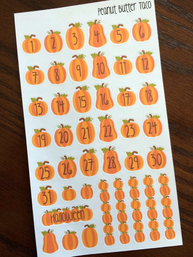 Pumpkin Date Covers Planner Stickers Halloween Countdown Etsy