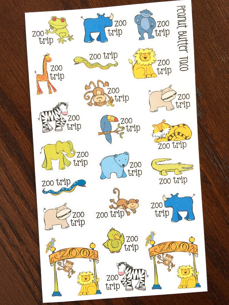Zoo Trip Planner Stickers  Zoo Day Stickers  Family Time image 0