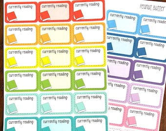 Currently Reading Boxes - Reading Planner Stickers - Book Stickers - Half Box Planner Stickers - Doodle Hand Drawn Stickers - Half Boxes