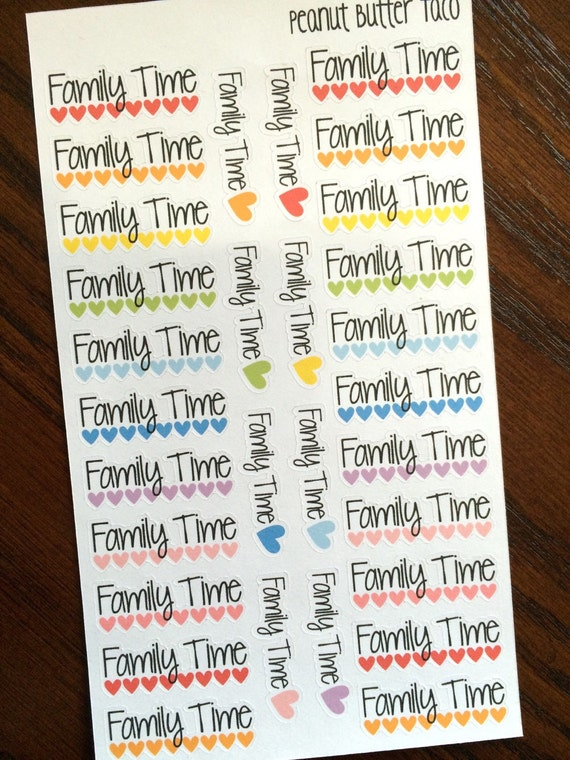 family time planner stickers family time stickers family etsy
