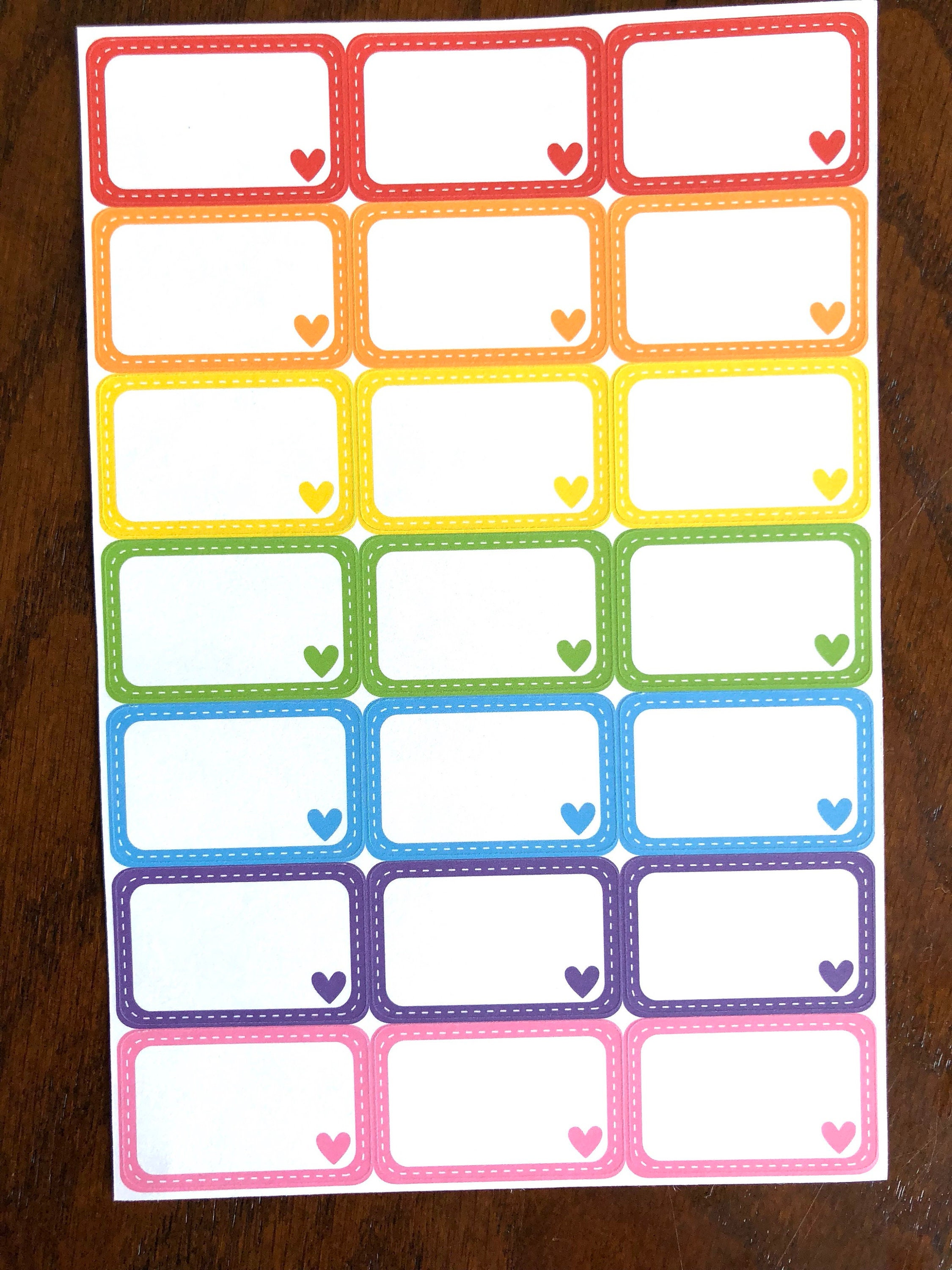 Rainbow Hearts Half Boxes Stitched Half Boxes Planner