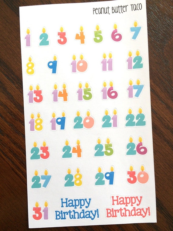 Birthday Candle Planner Stickers Countdown