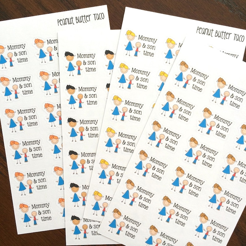 Mommy & Son Time Planner Stickers  Family Planner Stickers  image 0
