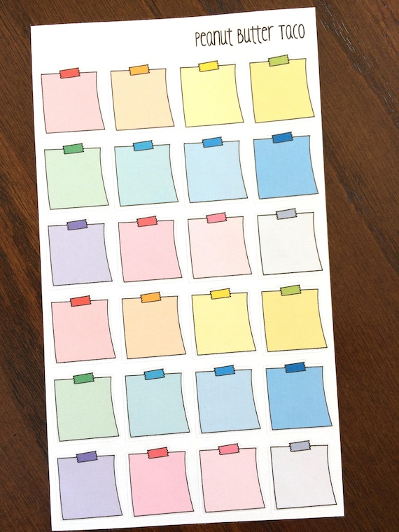 rainbow sticky notes planner stickers note pad stickers etsy
