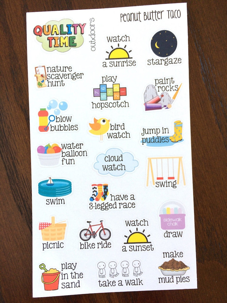 Outdoors Quality Time Stickers  Family Time Planner Stickers image 0