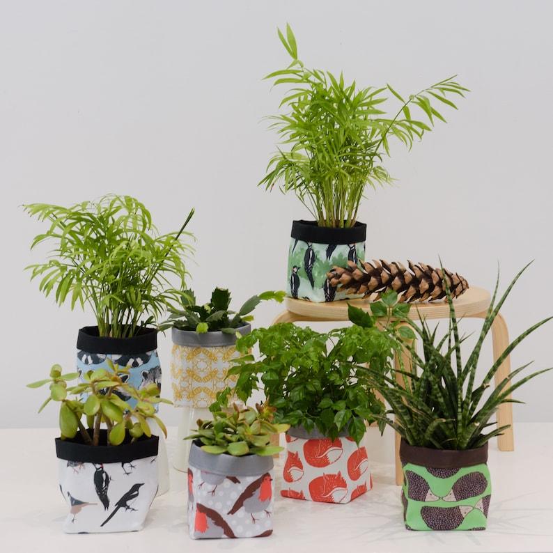 succulent plant lover house warming gift Woodpecker Print Textile Plant Pot waterproof storage basket herb fabric plant pot