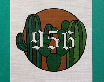 Cactus Old English Area Code 5x7in Print Personalization Available
