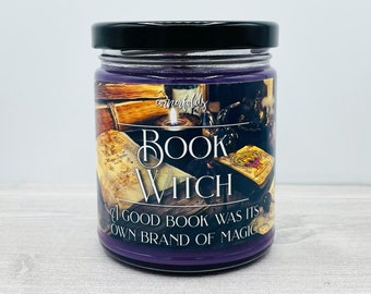 Book Witch Candle   Book Inspired Scented Soy Candle
