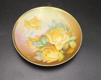 6 Inch Bavaria Decorator Plate Pink Yellow Purple Rose Trinket Tray