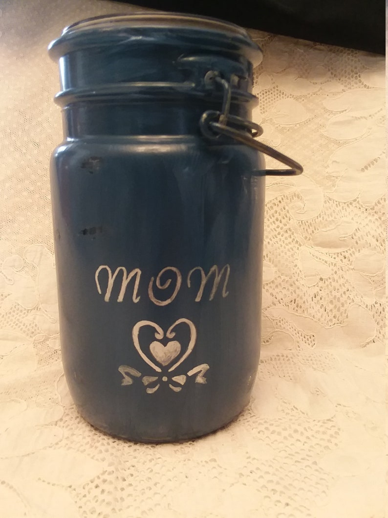 Hand Painted Blue MOM Mason Jar Gift Set,Hand painted Distressed Canadian Mason Jar,Personalized Gift for Mom,Christmas Gift for Mom