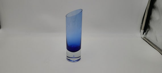 Very nice Cobalt blue with thick clear bubble base hand blown slant top vase 8""